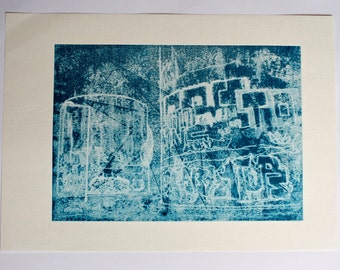 Monoprint in blue