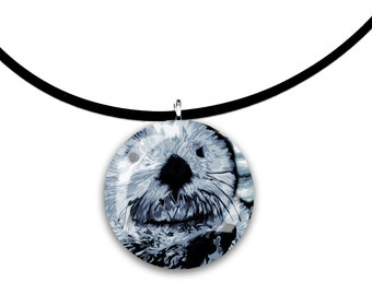 Blue grey, Sea Otter pendant, hand painted unique artwork, Adorable Otter, Round Glass tile pendant