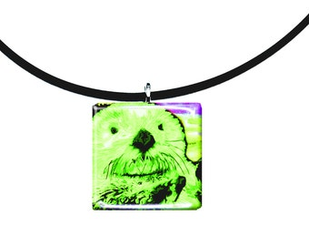 neon green, Sea Otter pendant, hand painted unique artwork, Adorable Otter, Glass tile penant, lime green and purple