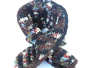 Holiday Clearance Sale Crochet Brown Keyhole Scarf