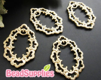 CH-ME-02169,  Matted gold plated, Art nouveau oval charms/connector, 2 pcs  (made in Korea)