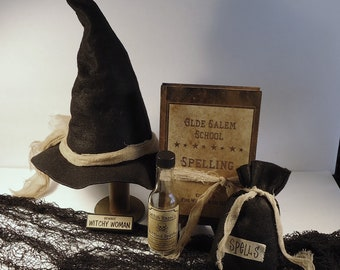 Halloween Decor Witch hat with spell bag spell book spell bottle, haunted, wicca, party decor, photo props