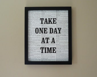 One Day at a Time recovery gift, AA, step program, Black and white art print