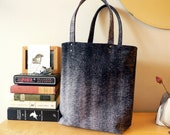ON SALE Black and Gray Distressed Leather Tote