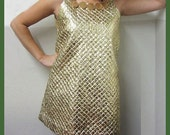 1960s PAPER DRESS - Gold Candy Cool
