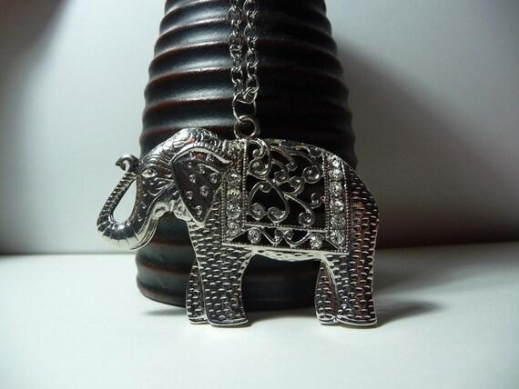 Elephant Pendant necklace by vintagerust