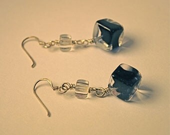 Antique Cobalt Blue and Clear Glass Cube Earrings