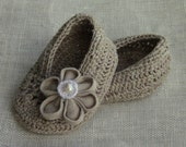 LINEN SHOES - Linen Baby Girl Shoes, Baby Girl Gift, Christening/Blessing Baby Shoes, Made to order