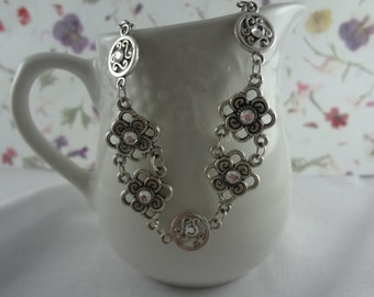 Elegant Crystal Necklace Bracelet and Earrings as a set