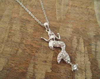 Mermaid Necklace - Silver Rhinestone Mermaid Necklace - Mermaids - Beach Necklace