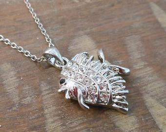 Silver Fish Necklace - Rhinestone Fish Necklace - Fish Necklace - Nautical Necklace - Beach Necklace - Gift
