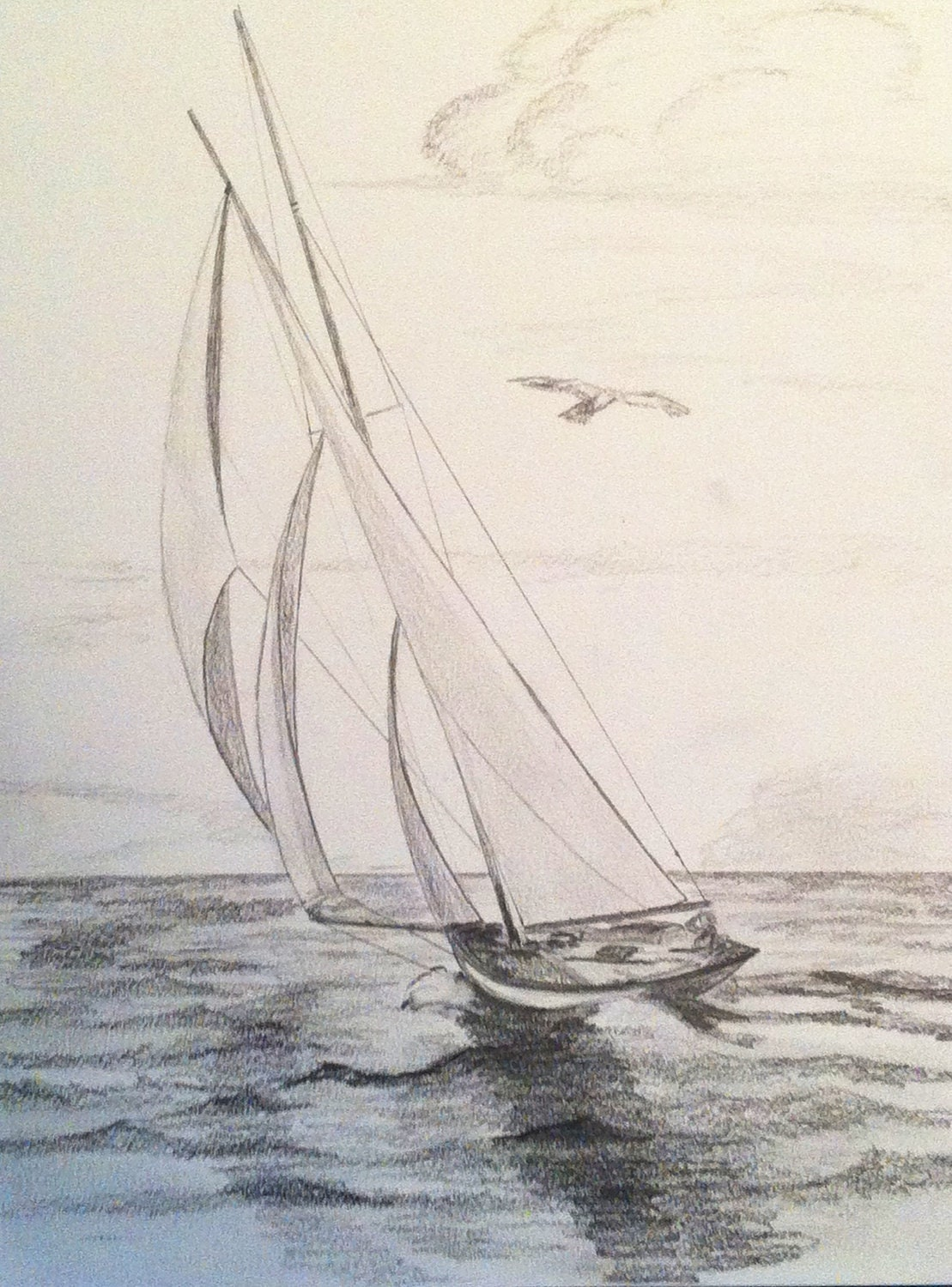 Three Sails Sailboat Original Pencil Drawing by paintingjimmy1