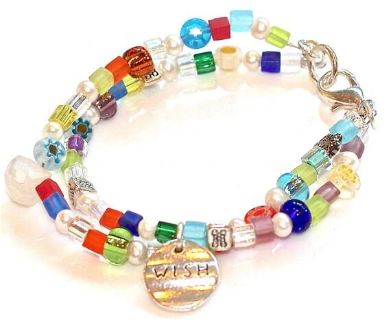 Stacking Bracelet Best Friend Jewelry Pearl Charm Bracelet Millefiori Gemstone Bracelet Friendship Bracelet Fizz Candy