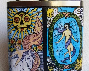 Flask - Day of the Dead Tarot Cards- FREE SHIPPING