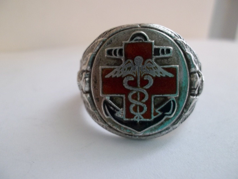 vintage caduceus silver ring symbol ring
