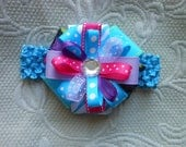 Infant blue crochet headband with boutique loopy bow, adorable headband for everyday wear or for photo shoots