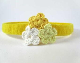 Trio De Crochet - Banana (Yellow) Headband With Crochet Flower Cluster // Skinny Headband // Knit Headband // Infant Headband // Photo Prop