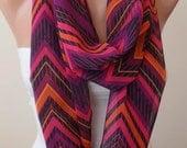 Chevron Infinty Scarf - Circle Scarf  -  Loop Scarf - Colorful Zigzag Scarf  - Chiffon Fabric