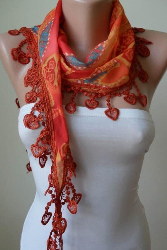 Orange Scarf with Orange Trim Edge - Summer Colors -- New