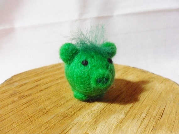 Needle Felted Pig -  miniature green pig figure - 100% merino wool - Pig With Attitude