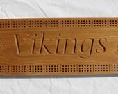 Minnesota Viking Cribbage Board made from Black Ash