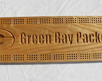 Green Bay Packer Cribbage Board made from Black Ash