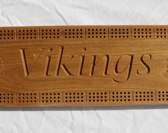 Minnesota Viking Cribbage Board made from Black Ash