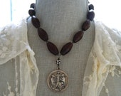 Upcycled Assemblage Necklace Antique Rosary Holy Family Vintage Rosary Spiritual