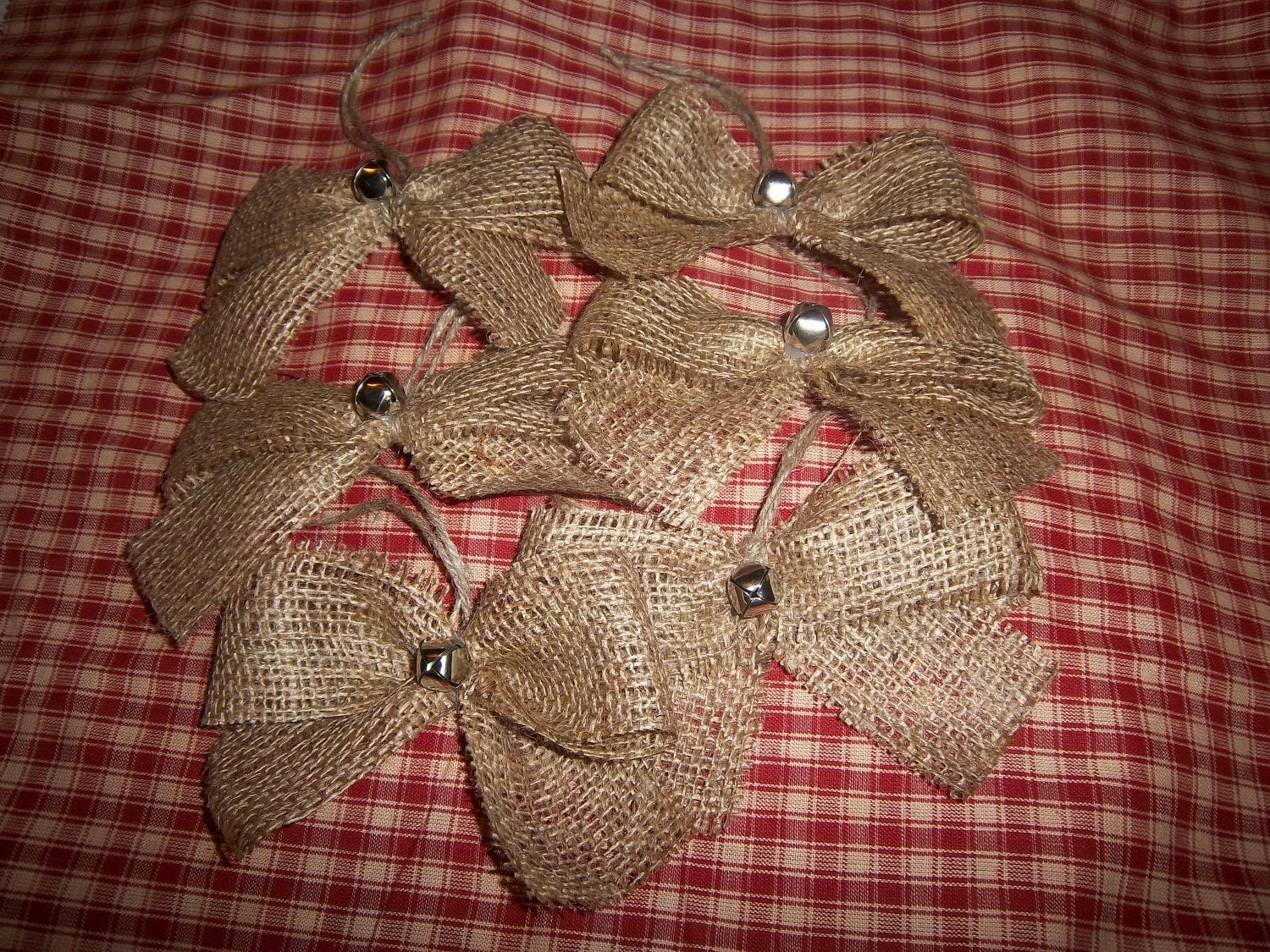 Burlap christmas ornaments with jingle bells set of 6 for How to make burlap christmas decorations