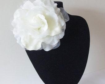 Large Organza Flower Brooch, IVORY, Sash Flower, Headpiece, Dress accessories