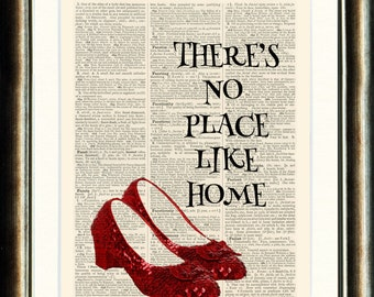 Ruby Slippers/Wizard of Oz - vintage book page print image on a page from an Upcycled late 1800s Dictionary Buy 3 get 1 Free. Teacups