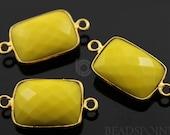 Stabilized Yellow Truquoise, Bezel Chicklet Gemstone Component,  Gold Vermeil,   14x18mm, 1 Piece, (BZC7458)
