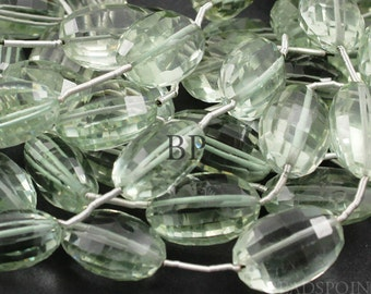 Natural ''NO TREATMENT'' Green Amethyst Micro Faceted Oval Beads, AAA Quality Gemstones 9x13 - 11x16mm, 4 Pieces, (4GAM9x13-11x16)