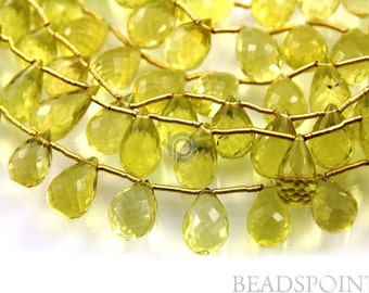 Natural '' NO TREATMENT'' Lemon Topaz Large Micro Faceted Tear Drops, AAA Quality Gemstones 9x13mm , 2 pieces (2LTZ9x13TEAR)