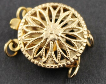 Gold Filled Round Filigree Clasp with 2 Ring,1 Piece, Sold INDIVIDUALLY, Just buy as many you need,(GF/408/2)