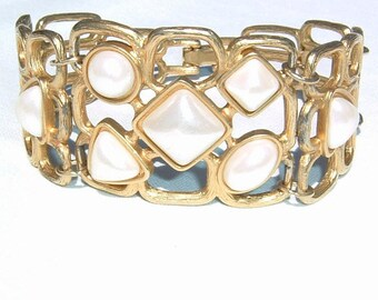 1980s Faux Pearl and Open Work Bracelet by  AVON