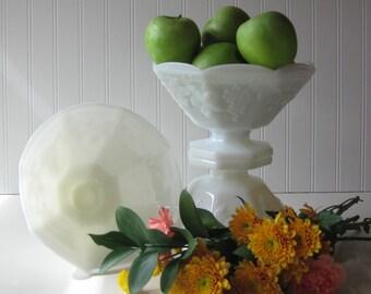 Wedding milk glass compote, Serving Bowl, Fruit Bowl, Cottage, Farmhouse