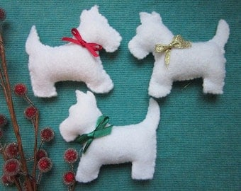 White Scottie dog ornaments- set of 3-christmas ornaments-Handmade ornaments-felt scottie dogs-scottish terriers
