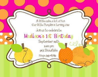 12 Pumpkin  Birthday Party invitations with envelopes