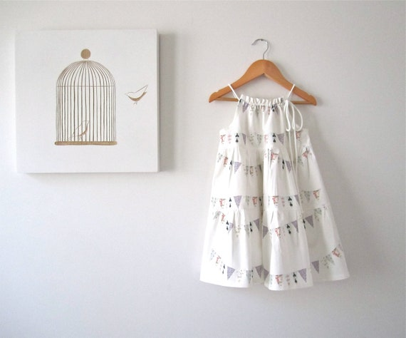 White Cotton Summer Girls Dress-French Bunting Flags-baby-toddler-infant-Handmade Children Clothing by Chasing Mini 2yrs