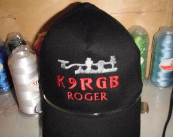 HAM RADIO Hat - Custom EMBROIDERED in CrushProof Box  with Morse Key & Callsign  H17