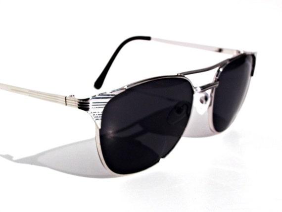 Deadstock Silver Clubmaster 80s Wayfarer Sunglasses - Under 25 Gift for Men Women Unisex