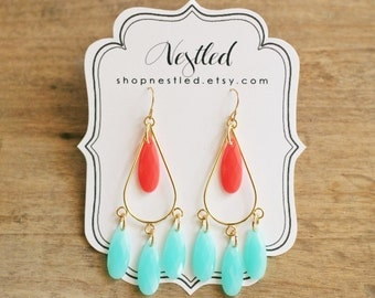 Coral and Mint Teardrop Chandelier Statement Earrings, Mint and Coral Earrings