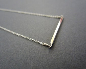 SALE - Bar necklace, Rhodium plated silver necklace, dainty, everday silver necklace, Minimal modern Jewelry.