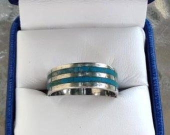 Vintage Sterling Silver & Turquoise Ring - Unisex Gift