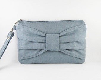 SUPER SALE - Gray Bow Clutch - iPhone 5 Wallet, iPhone Clutch, iPhone Wristlet, Cell Phone Wristlet, Cosmetic Bag, Camera Bag, Zipper Pouch