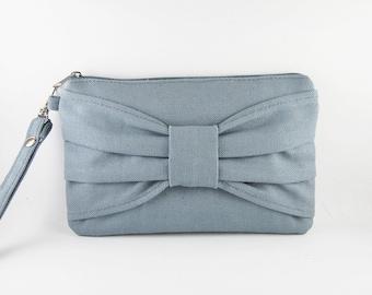 SUPER SALE - Gray Bow Clutch - iPhone 5 Wallet, iPhone Clutch, iPhone Wristlet, Cell Phone Wristlet, Cosmetic Bag, Camera Bag, Zipper Pouch