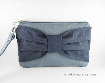 SUPER SALE - Gray with Denim Bow Clutch - iPhone 5 Wallet, iPhone 5 Wristlet, Cell Phone Wristlet, Camera Bag, Cosmetic Bag, Zipper Pouch