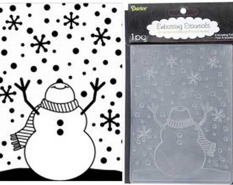 DaRiCE- EMBOSSiNG FoLDER - SNOWMAN with ARMS Up - LOOKiNG At The SkY - CUTTLEBUG CuTE - A2 SiZE