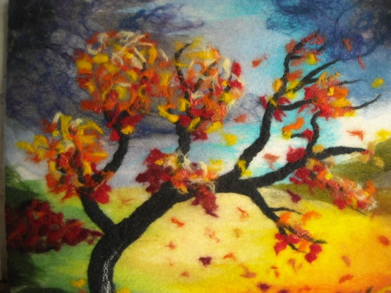 fibre wall art ,wet felted wall art, abstract tree, textile art landscape,contemporary original, blustery day